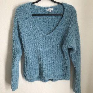 Warm & Cozy blue chenille sweater v-neck Med